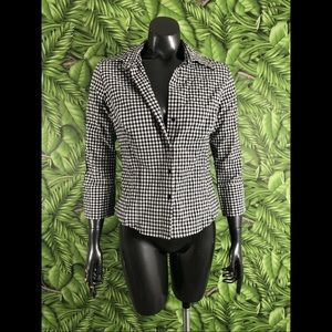 Zara Checkered Gingham Popover Top Size Large